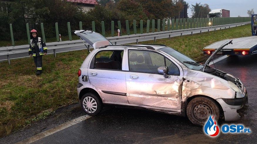 Kolizja samochodu osobowego na DK7 - 9 października 2019r. OSP Ochotnicza Straż Pożarna