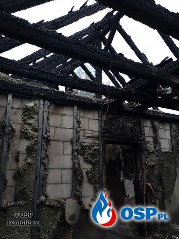 Kęszyca Leśna - całonocny pożar bloku OSP Ochotnicza Straż Pożarna