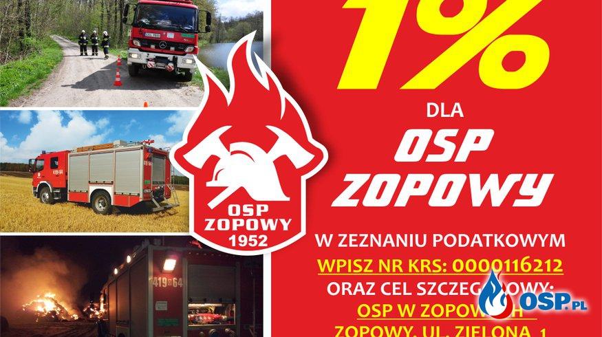 1% dla OSP Zopowy w 2019 roku! OSP Ochotnicza Straż Pożarna