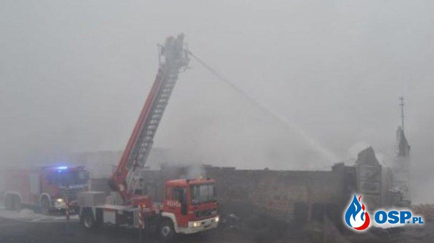 Pożar zakładu produkcyjno-tapicerskiego w miejscowości Proszów OSP Ochotnicza Straż Pożarna