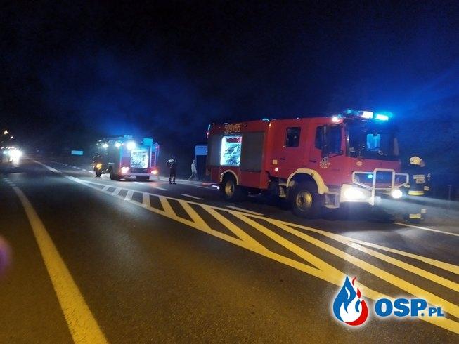 """""""Świadkowie słyszeli dwa wybuchy"""". Pożar samochodu pod Mielcem. OSP Ochotnicza Straż Pożarna"""