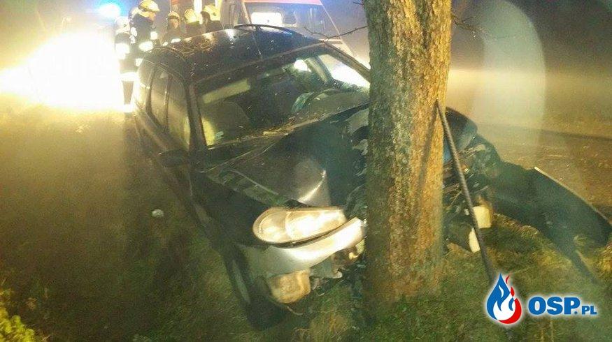 Stare Miasto - samochód osobowy uderzył w drzewo. OSP Ochotnicza Straż Pożarna