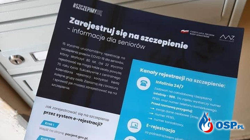 Strażacy OSP Zręcin będą roznosić ulotki nt. szczepień OSP Ochotnicza Straż Pożarna