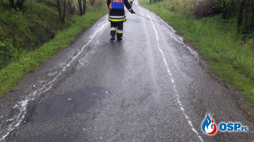 Niebezpieczna plama substancji ropopochodnej OSP Ochotnicza Straż Pożarna