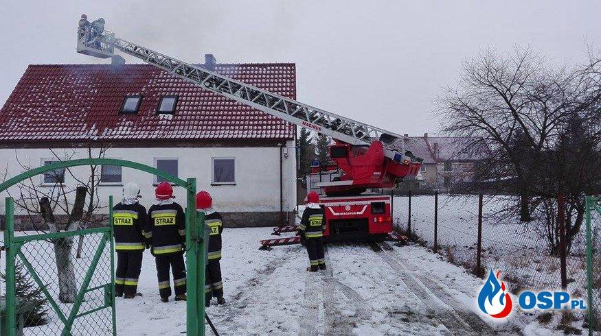 24.01.2016 - pożar sadzy w kominie w Mnichowicach OSP Ochotnicza Straż Pożarna