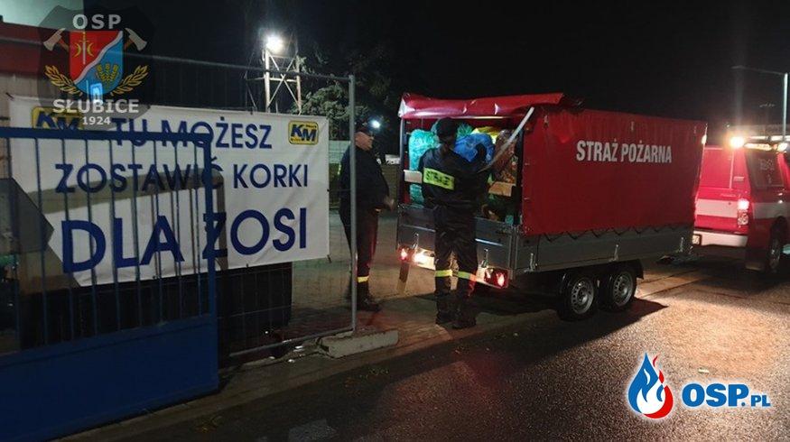 Korki dla Zosi trafiły do punktu zbiórki OSP Ochotnicza Straż Pożarna