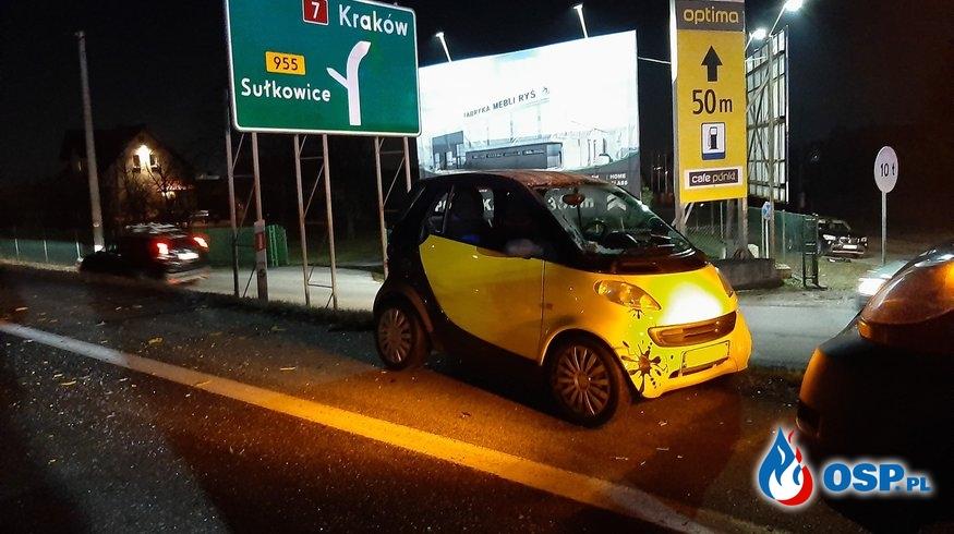 Wypadek dwóch samochodów osobowych na DK7 - 8 lutego 2020r. OSP Ochotnicza Straż Pożarna