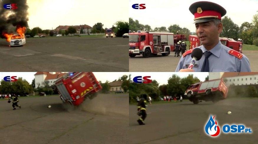 Trzech strażaków rannych po wypadku na pokazie. Samochód przewrócił się na bok. OSP Ochotnicza Straż Pożarna
