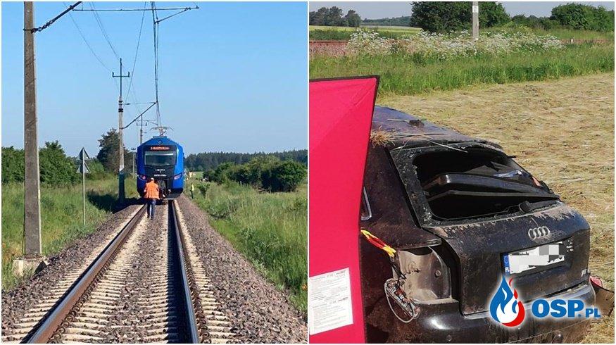 Pociąg zmiażdżył samochód na przejeździe kolejowym. 47-letni kierowca zginął na miejscu. OSP Ochotnicza Straż Pożarna