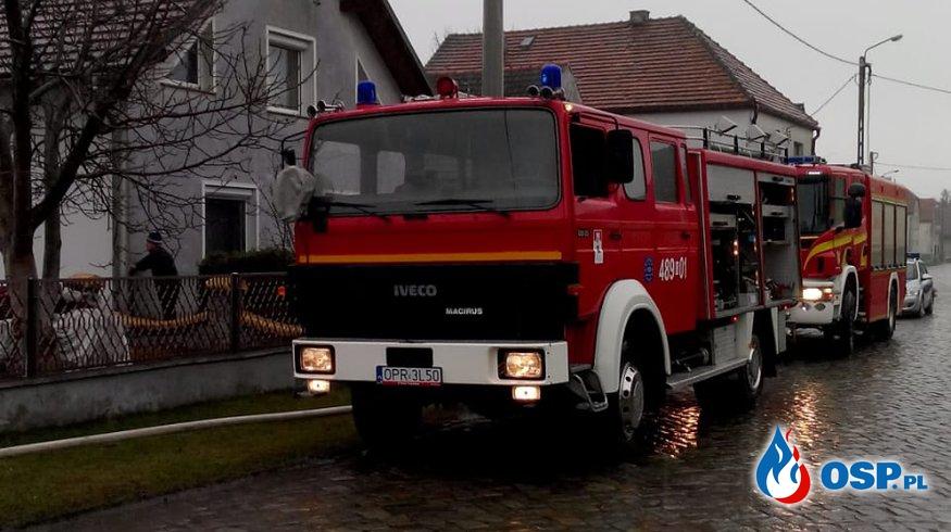 Pożar dachu na budynku jednorodzinnym w Radostyni OSP Ochotnicza Straż Pożarna