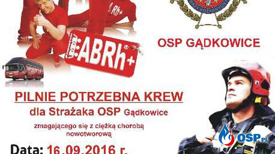 Zbiórka krwi dla strażaka z OSP Gądkowice OSP Ochotnicza Straż Pożarna