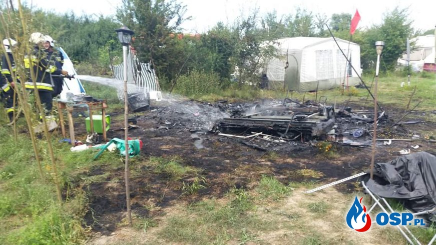 #08/2018 Pożar Przyczepki Kempingowej w Ptakowicach OSP Ochotnicza Straż Pożarna