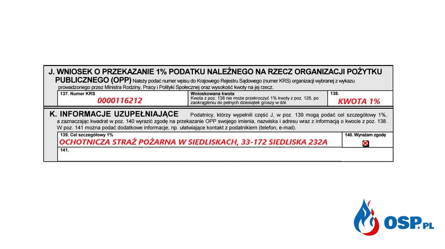 Prośba o przekazanie 1% podatku OSP Ochotnicza Straż Pożarna