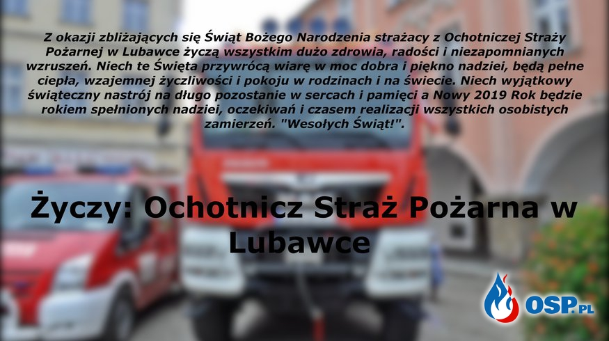 Życzenia od strażaków OSP Ochotnicza Straż Pożarna