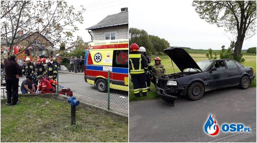 Pijany kierowca audi potrącił chłopców na chodniku i uderzył w drzewo OSP Ochotnicza Straż Pożarna