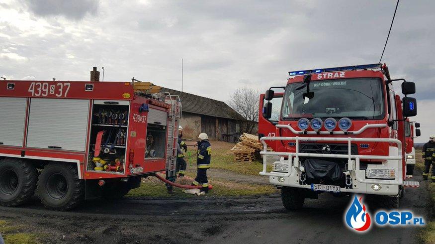Pożar w budynku gospodarczym OSP Ochotnicza Straż Pożarna