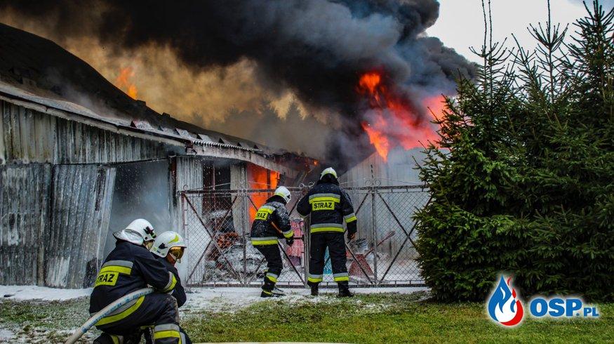Pożar zakładu produkującego znicze. Strażacy uratowali budynek mieszkalny! OSP Ochotnicza Straż Pożarna