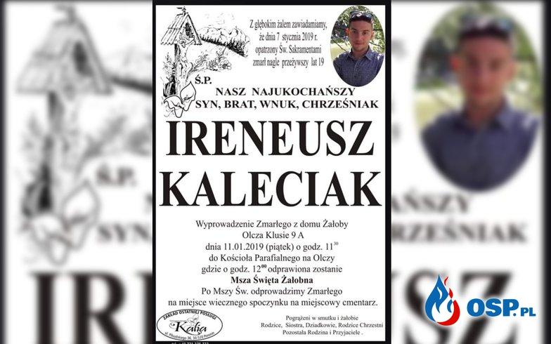 Nie żyje Ireneusz Kaleciak, 19-letni strażak OSP Zakopane-Olcza. OSP Ochotnicza Straż Pożarna