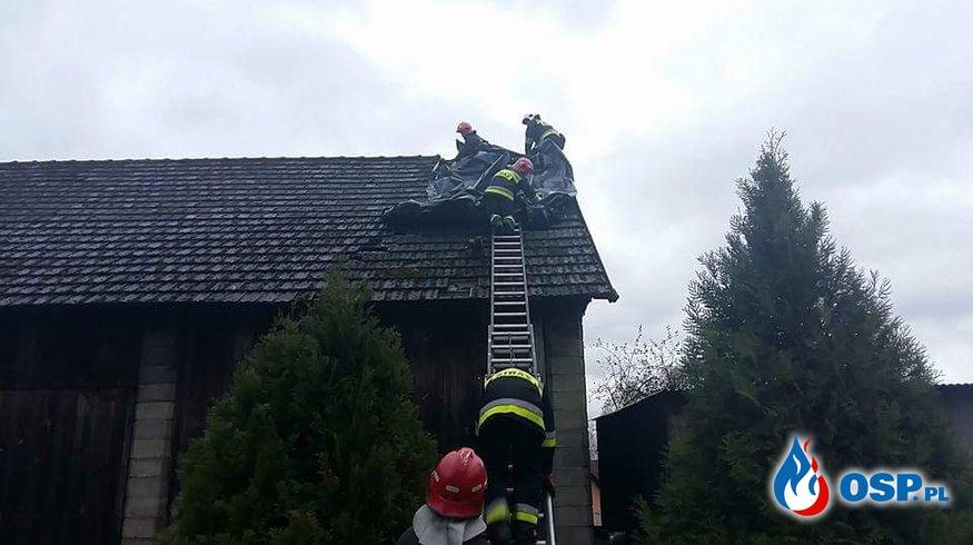 Zerwany dach na budynku gospodarczym w Biertowicach OSP Ochotnicza Straż Pożarna