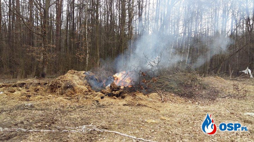 pożar sterty słomy/nawozu 31.03.2016 OSP Ochotnicza Straż Pożarna