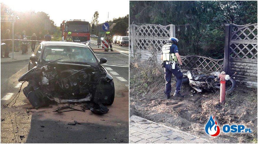 BMW zderzyło się z motocyklem. Zginęło dwóch mężczyzn. OSP Ochotnicza Straż Pożarna