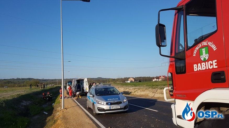 Wypadek motocyklisty - Obwodnica Babic OSP Ochotnicza Straż Pożarna