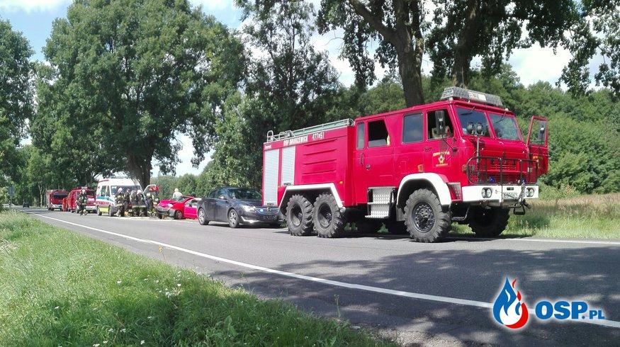 Wypadek Matiza przy DK48 OSP Ochotnicza Straż Pożarna