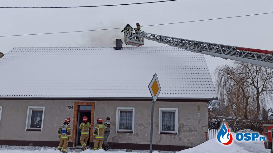 #04/2021 Pożar sadzy w kominie w budynku jednorodzinnym  w Michałowie OSP Ochotnicza Straż Pożarna