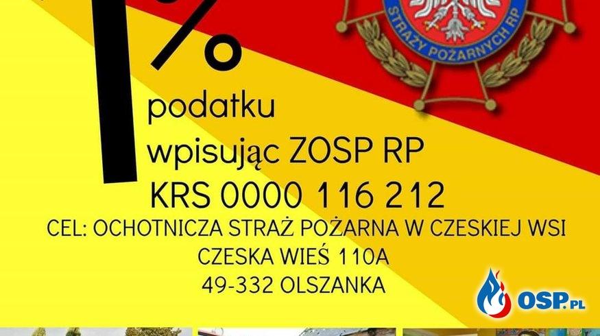 Przekaż swój 1% podatki dla OSP Czeska Wieś  To Cie Nic Nie Kosztuje OSP Ochotnicza Straż Pożarna