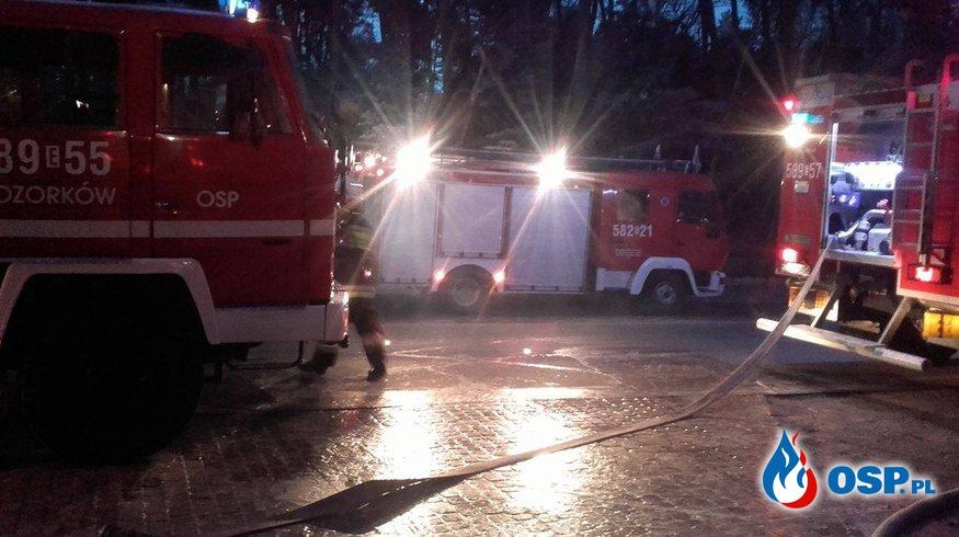 """Pożar  poddasza w Restauracji """" Nasza Chata""""  w miejscowości Sokolniki Las OSP Ochotnicza Straż Pożarna"""