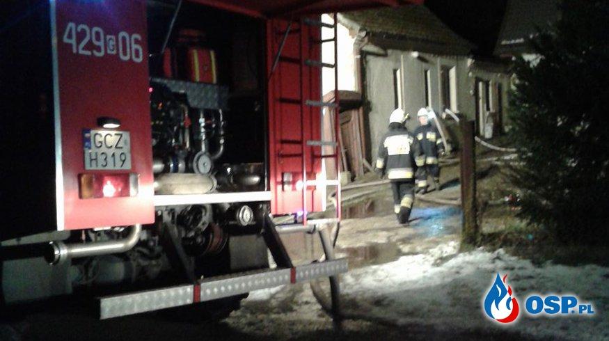 Pożar stropu w budynku mieszkalnym m. Bińcze 13.02.2018r. OSP Ochotnicza Straż Pożarna