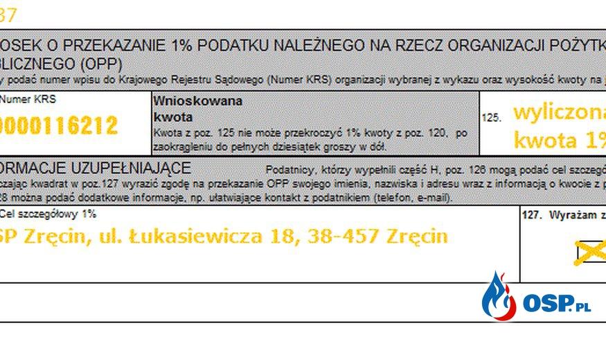 Przekaż 1% podatku dla Ochotniczej Straży Pożarnej w Zręcinie OSP Ochotnicza Straż Pożarna