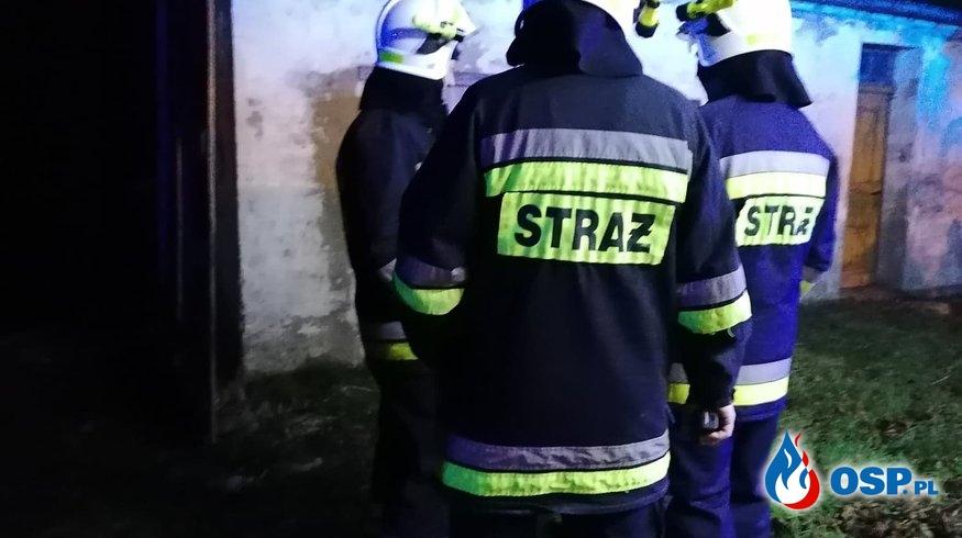 Pożar w budynku gospodarczym. Lędzin 04.01.2020r. OSP Ochotnicza Straż Pożarna