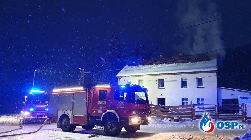 Pożar domu w Bartnicy OSP Ochotnicza Straż Pożarna