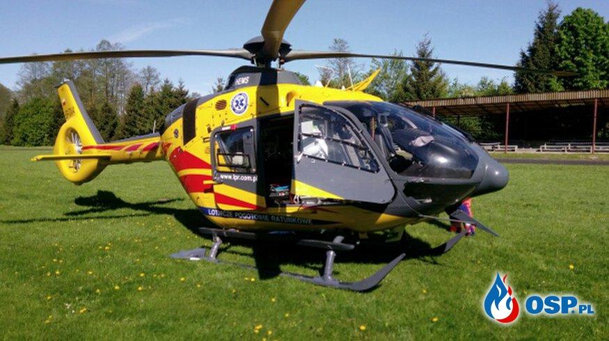 Zabezpieczenie lądowiska helikoptera. OSP Ochotnicza Straż Pożarna