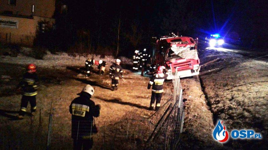 Czterej strażacy ranni po wypadku wozu bojowego na Opolszczyźnie! OSP Ochotnicza Straż Pożarna