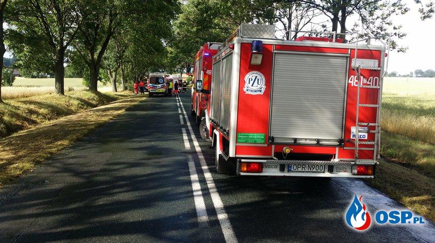 Wypadek przed miejscowością Biała OSP Ochotnicza Straż Pożarna