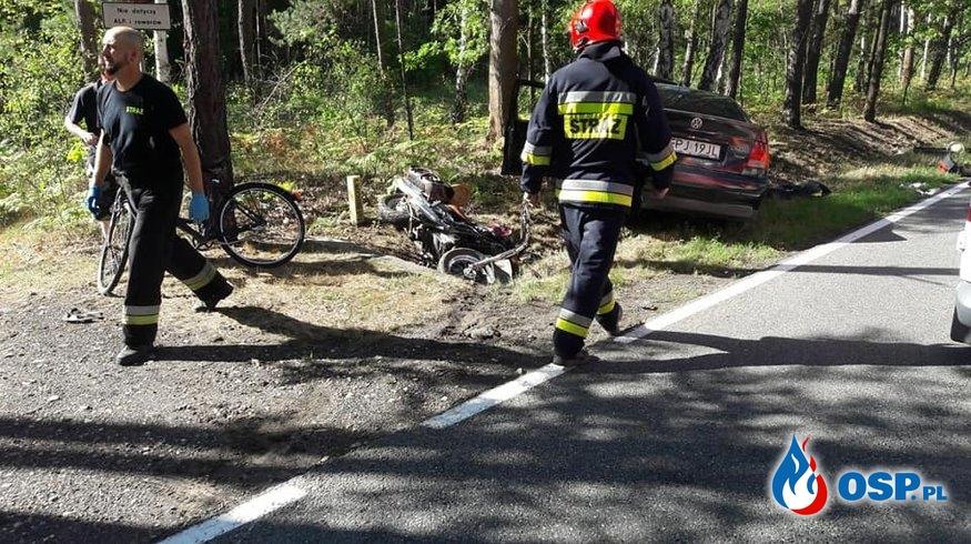 Kobieta zginęła w wypadku motocykla i osobówki pod Opolem. OSP Ochotnicza Straż Pożarna