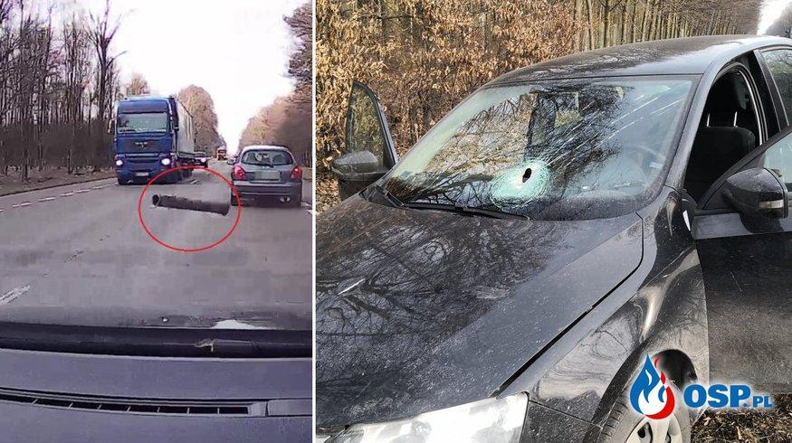 Metalowa rura wbiła się przez szybę do samochodu. Kierowca został ranny. OSP Ochotnicza Straż Pożarna