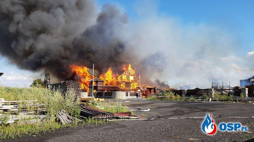 Zabezpieczenie powiatu w PSP Prudnik. Pożar tartaku w Szybowicach OSP Ochotnicza Straż Pożarna