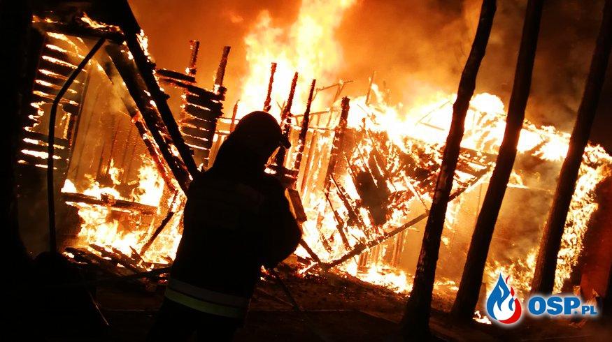Pożar w ośrodku wypoczynkowym w Kiełbiczach  OSP Ochotnicza Straż Pożarna