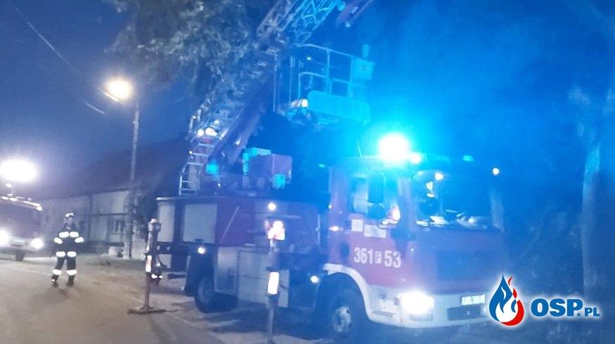 Złamane zwisające gałęzie sprawiające niebezpieczeństwo OSP Ochotnicza Straż Pożarna