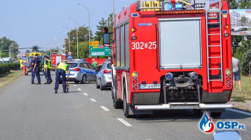 Wypadek motocyklisty w Opolu. W akcji LPR. OSP Ochotnicza Straż Pożarna