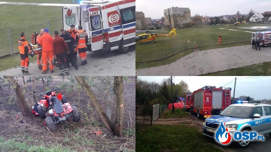 Dwie osoby ranne po wypadku quada. Do akcji wysłano dwa śmigłowce LPR. OSP Ochotnicza Straż Pożarna