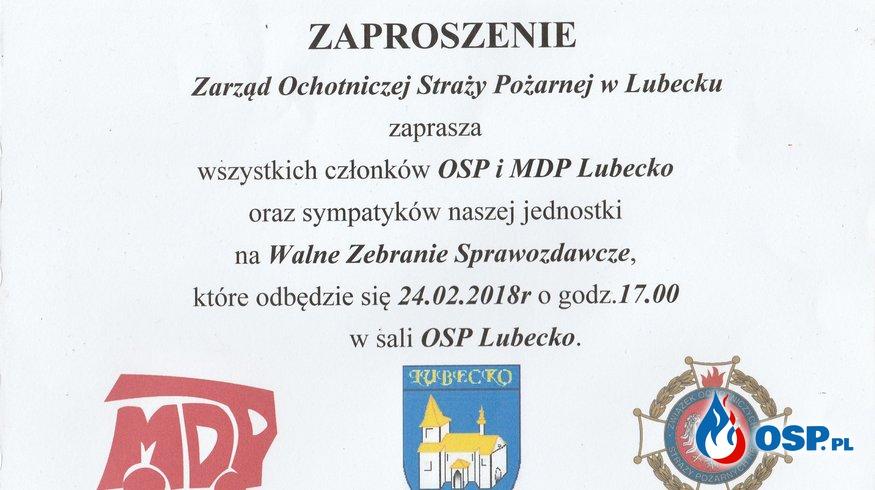 Zaproszenie na Walne Zebranie Sprawozdawcze  OSP Ochotnicza Straż Pożarna