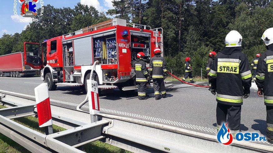 Pożar samochodu ciężarowego na 241 kilometrze A4 OSP Ochotnicza Straż Pożarna