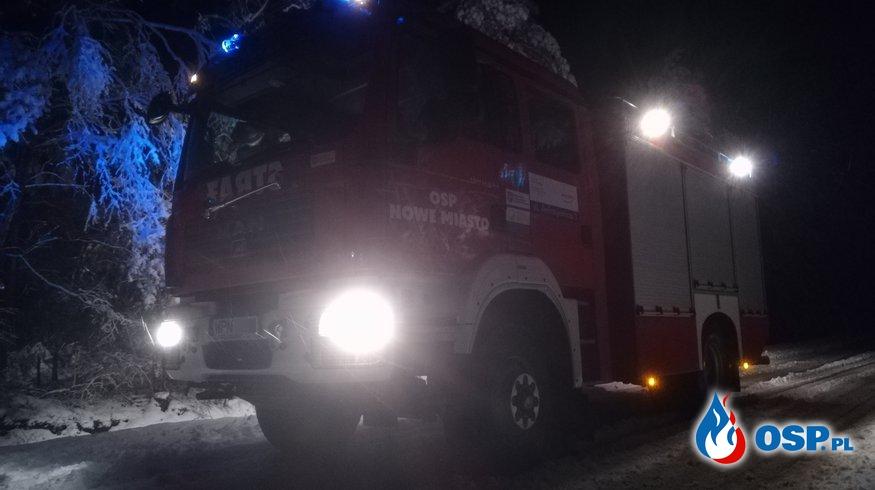 Usuwanie skutków opadu śniegu Klukówek OSP Ochotnicza Straż Pożarna