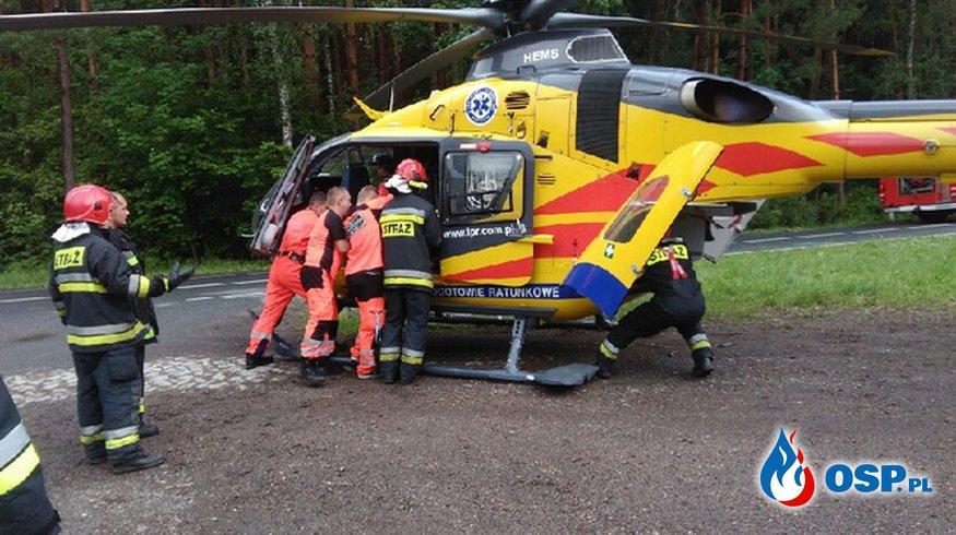 Wypadek Opla Agili na krajowej 31 OSP Ochotnicza Straż Pożarna
