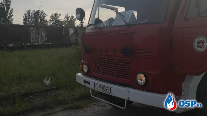 Pożar wagonu OSP Ochotnicza Straż Pożarna