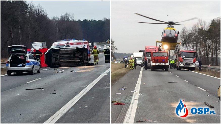 Auto dachowało na DK91. Kierująca nim kobieta zginęła, dwie osoby są ranne. OSP Ochotnicza Straż Pożarna